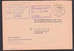 BARTH Betriebsakademie Des Sozialistischen Binnenhandels Riebnitz-Damgarten ZKD-Brief 15.12.69 - Service
