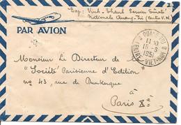 Lettre De Quang-Tri Du 15-6-51 Pour Paris Via Hué 18-6-51 Avec 1 X PA11 Et YT167 X 4 - Service De Sureté Nationale - Brieven En Documenten