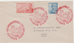 MARCA CONMEMORATIVA DE DON QUIJOTE Y SANCHO - MONTIEL - 1931-50 Storia Postale