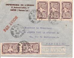 Lettre De L'IMPRIMERIE De L'OUEST à Cantho Du 14-4-51 Avec 5 X 168 Pour Paris - Brieven En Documenten