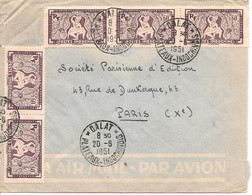 Lettre De Dalat Plateaux Le 20-6-51 Avec 5 X 168  Pour Paris Via Saigon Le 21-6-51 - Brieven En Documenten
