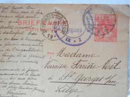 PAYS-BAS BELGIQUE, ENTIER POSTAL 1919, 5 Ct  ROUGE OBLIT DEN BOSCH/BOIS LE DUC - ST GEORGES + VISA CENSURE ALLEMANDE - Entiers Postaux