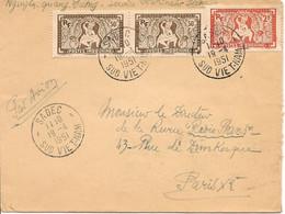 Lettre Du Service Vétérinaire De Sadec Le 19-4-51 Avec 2 X 167 Et 1 X 170  Pour Paris Via Saigon Le 22-4-51 - Brieven En Documenten