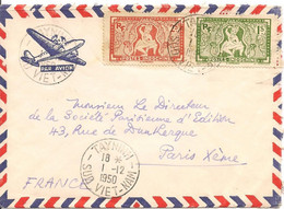 Lettre De Tayninh Le 1-12-50 Avec 1 X 169 Et 1 X 170  Pour Paris - Brieven En Documenten