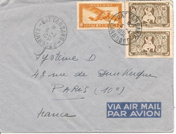 Lettre De Bat Tan Bang (Cambodge) Le 5-4-51 Avec 1 X PA12 Et 2 X 167  Pour Paris - Brieven En Documenten