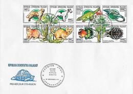 Madagascar FDC 1993 Chat ,chien , Reptile , Orchidée - Orchids