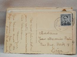 BELGIQUE CPA FANTAISIE -  OBLITERATION RONDE DE STAVELOT 1954 SUR 1fr50 BAUDOIN GRIS BLEU - Landpost (Ruralpost)