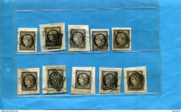 CERES N°3 -Lot De 10 Timbres-oblitérés Sur Véritables Fragments De Lettres-pour étude Types -teintes, Etc.. - 1849-1850 Ceres
