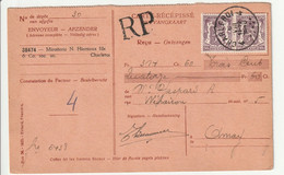 Ontvangkaart Charleroi 4 - 1935-1949 Kleines Staatssiegel