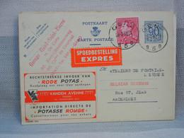 BELGIQUE - EP 90 C BLEU + 6fR LEOPOLD III + EXPRESS-  OBLITERE GENT 1952 - PUBLIBEL VANDEN AVENNE FR OOSTROOSBEKE (1023) - AK [1951-..]