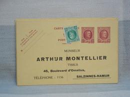 BELGIQUE - EP 15c +REPIQUAGE 5C + Compl 10c - Type Houyoux - PUB ARTHUR MONTELLIER SALZINNES NAMUR - NON ENVOYEE - AK [1909-34]