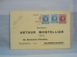 BELGIQUE - EP 15c + 2 COMPL 10c - Type Houyoux - PUB ARTHUR MONTELLIER SALZINNES NAMUR - NON ENVOYEE - AK [1909-34]