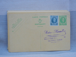 BELGIQUE - ENTIER POSTAL CARTE - 30c VERT + COMPLEMENT 5c HOUYOUX  NEUF - CP DE COMMANDE ARTHUR MONTELLIER SALZINNES - AK [1909-34]