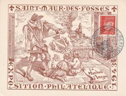 OBLIT. GF ILLUSTREE EXPO. PHILAT. SAINT MAUR DES FOSSES 12/1943 - Commemorative Postmarks