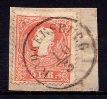 AUSTRIA / ÖSTERREICH - 1858 : 5 KREUZER - Mi. 13 II Sur / On FRAGMENT - STEMPELUNG / CANCELLATION : RADKERSBURG (af852) - Cartas