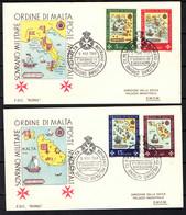 SMOM - 1968 - LE SEDI DELL'ORDINE NEI TEMPI: GERUSALEMME, RODI, MALTA, ROMA . ANNULLO PRIMO GIORNO - FIRST DAY - Malta (la Orden De)