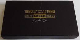 Coffret 1er Jour Médaille Documents Sonores Général Charles DE GAULLE 1890-1944-1945-1990 Edition Officielle Centenaire - De Gaulle (General)