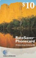 USA - Windjama Gorge/Kimberley WA, Cable & Wireless Prepaid Card $10, Exp.date 31/05/01, Used - AT&T