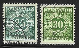 Denmark Scott # J34-5 Used Numeral, 1934, 1953 - Port Dû (Taxe)