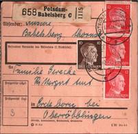 ! 1942 Potsdam Babelsberg Nach Erdeborn,  Paketkarte, Deutsches Reich, 3. Reich - Brieven En Documenten