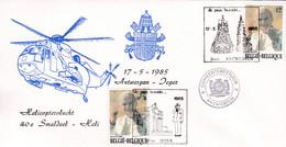 Enveloppe 2166 S.S. Pape Jean-Paul II Hélicoptère Helicoptervlucht Antwerpen Ieper Gemeentebestuur Antwerpen - Cartas