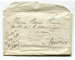 Militaria : 2 Lettres + Enveloppe Et Cachet Troupes Impériales Russes En France QG à Maubeuge Procureur à Avesnes 1816 - Historische Documenten