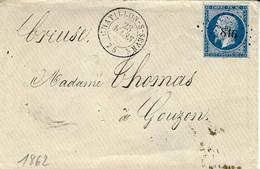 1862- Enveloppe De CHATILLON-s-SEVRE ( Deux Sèvres ) Affr. N°14 Oblit. Pc 816 - 1849-1876: Periodo Classico