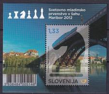 SLOVENIA ,2012,CHESS,MI NO 971,BLOCK 66,MNH - Chess