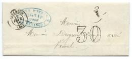 MARQUE POSTALE BESANCON POUR VESOUL / TAXE 30 DOUBLE TRAIT / 1856 - 1849-1876: Période Classique
