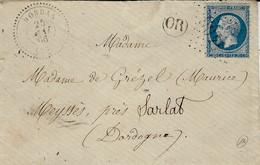 1866- Enveloppe De BORDAS ( Dordogne) Cad T22 Affr. N°22 Oblit. G C 4405 - 1849-1876: Periodo Classico