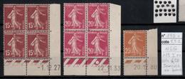 France YT 189/190 Coins Datés ** Mnh Semeuse 235 **mnh Coin De Feuille Avec Date - 1930-1939