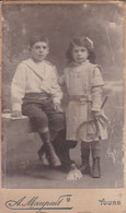Photographie C D V  Georges & Suzanne Grandjean Jeu Badminton1911 Photo A Maupuit Tours Ref 1464 - Old (before 1900)