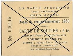 Deux-Acren ( La Gaule Acrenoise - Fonds De Rempoissonnement 1953 ) Carte De Soutien - Billetes De Lotería