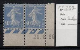 France YT 237 ** Mnh En Paire Coin De Feuille Avec Date - Ongebruikt