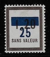 TIMBRES FICTIFS EMISSION DE 1946 ET 1949 N° F74 25 SUR 1,20 NEUF * RARE TB COTE 8 € - Phantom