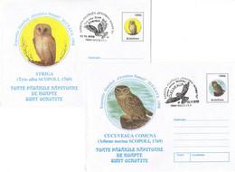 617  Chouette Effraie + Chouette Chevêche: 2 PAP 1998 Avec Oblit. Concordantes - Barn Owl And Little Owl Covers. Hibou - Owls