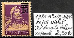 D - [840782]TB//**/Mnh-Suisse 1921 - N° 183-VAR, 20/15 Violet '20' Dans La Valeur - Nuovi
