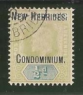 FIDJI  1/2 D  Avec  Surcharge  NEW  HEBRIDES  CONDOMINIUM  Oblitéré - Usati