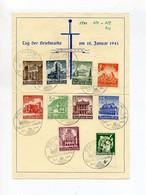 1941 3.Reich Seltenes Gedenkblatt Tag Der Briefmarke Solingen Mit  WHW Bauwerke Mi 751-759 + Mi  762 - Brieven En Documenten