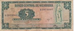 BILLETE DE NICARAGUA DE 5 CORDOBAS DEL AÑO 1972  (BANK NOTE) - Nicaragua