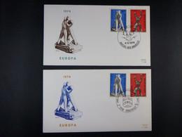 """BELG.1974 1714 & 1715 FDC Brus-Brux & Borgerhout : """"EUROPA 1974 Sculptures/Beeldhouwkunst"""" - 1971-80"""