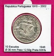 "Portugal 10 Escudos 1948 Argent  Rare ""Caravelle"" - Portugal"