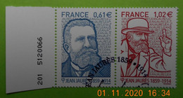 FRANCE 2014   YT N°4869-4870    JEAN  JAURES (1859-1914)   Timbre  Neuf  Cachet   ROND  NUMEROTE  1er JOUR - Used Stamps