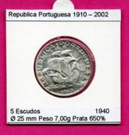 "Portugal 5$00 Escudos 1940 Argent ""Caravelle"" - Portugal"