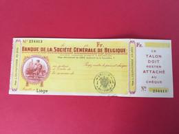 Ancien Chèque Société Générale De Belgique - Chèques & Chèques De Voyage