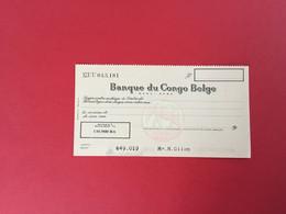 Ancien Chèque Banque Du Congo Belge - Chèques & Chèques De Voyage