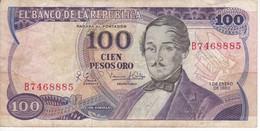 BILLETE DE COLOMBIA DE 100 PESOS DE ORO DEL AÑO 1980  (BANK NOTE) - Kolumbien