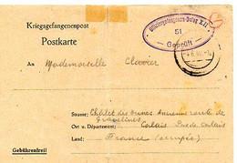 E 17  1940 Lettre En FM CARTE DE CAPTURE Prisonnier De Guerre Dulag XII                Pliure - 2. Weltkrieg 1939-1945