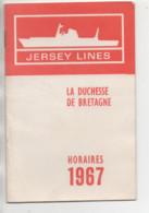Jersey Lines ( La Duchesse De Bretagne // Horaires & Tarifs 1967 ) - Boten