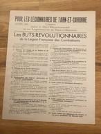 Document Buts Révolutionnaires  Tarn Et Garonne Légion Française Des Combattants état Français 1940-44 - 1939-45